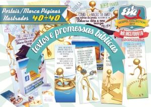 Postais e marca páginas gospel ilustrados com Pensamentos e promessas bíblicas